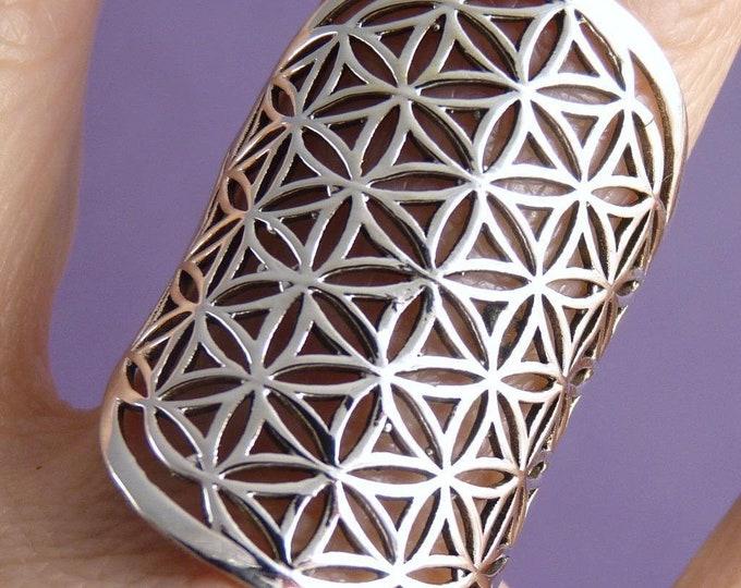 Wide Jali FLOWER OF LIFE SilverSari Art Ring Solid 925 Stg Silver YSAR1041
