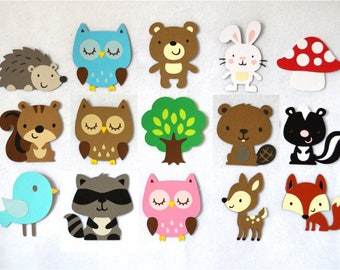 Woodland die cut etsy large forest animal cut outs customize your set diy wall art nursery decor birthday party baby publicscrutiny Gallery