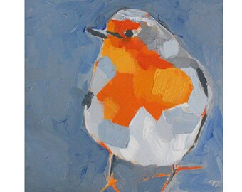 outdoors gift - robin oil painting - art print - bird art print - robin gifts - orange robin red breast - blue - spring art