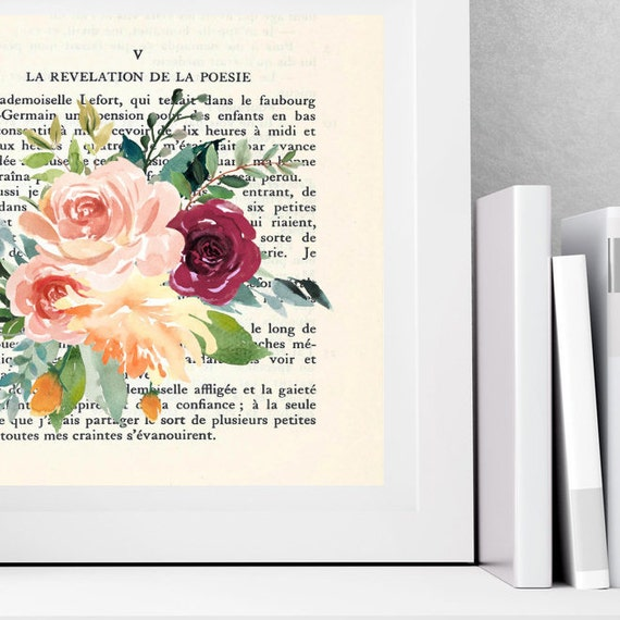 poetry watercolor rose print dorm room wall art vintage french decor french prints gift floral watercolour print