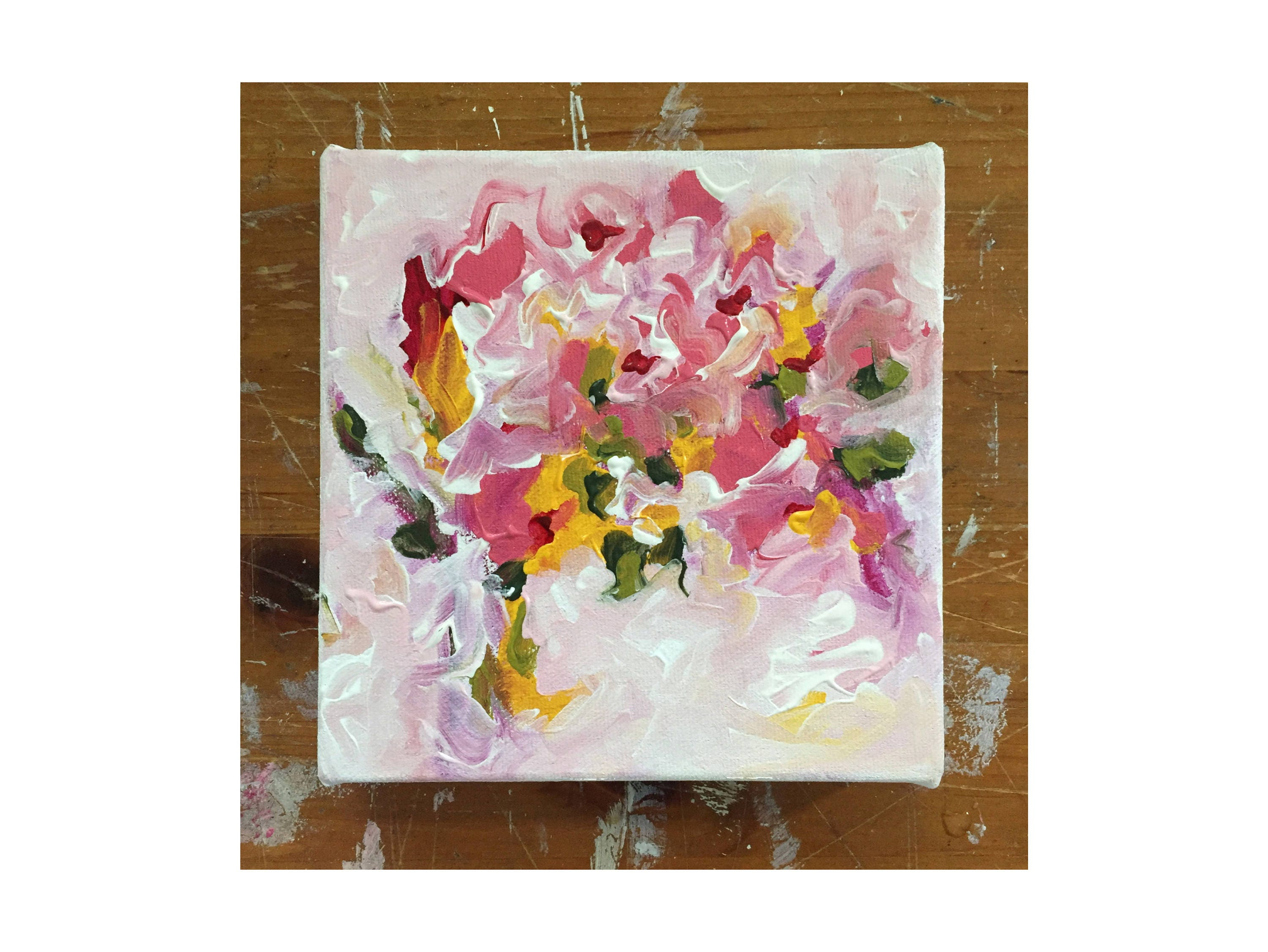 Floral Abstract Painting Pink And Green Abstract Canvas
