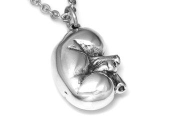 Anatomical Kidney Necklace, Handmade Human Renal Anatomy Pendant