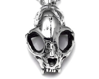 Cat Skull Necklace, Handmade Goth Pendant, Kitty Lover Gift, Veterinarian Jewelry