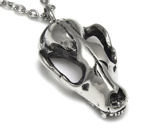 Raccoon Skull Necklace, Animal Pendant Handmade Jewelry in Polished Pewter
