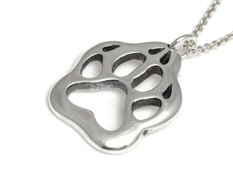 Sterling Silver Wolf Track Necklace, Animal Jewelry