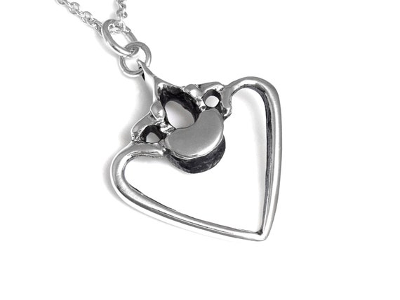 925 Sterling Silver Polished Heart Cable Wrap Drop Necklace 41