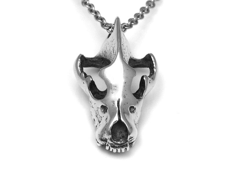 Hyena Skull Necklace Carnivore Animal Head Pendant Jewelry in image 0