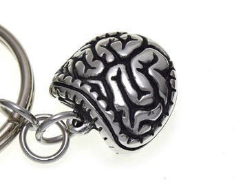 Intestines Keychain, Digestive Keyring Anatomical Key Holder in Pewter