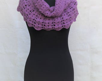 Crochet Shoulder Wrap, Capelet, Poncho in alpaca wool, purple heather, made to order in any color