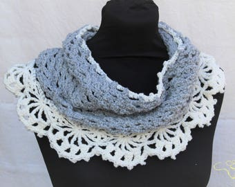 READY TO SHIP, Neck warmer, crochet Infinity scarf, grey and off white, or made to order in any colour combination