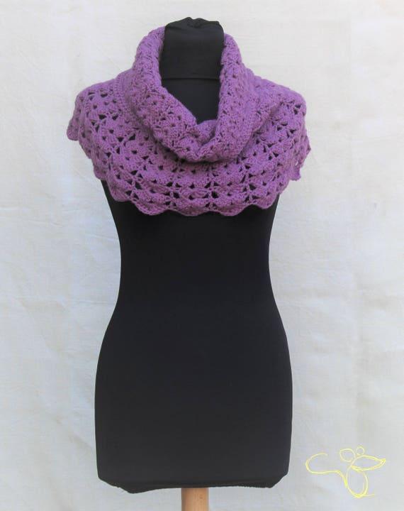Crochet Shoulder Wrap Capelet Poncho In Alpaca Wool Purple Etsy