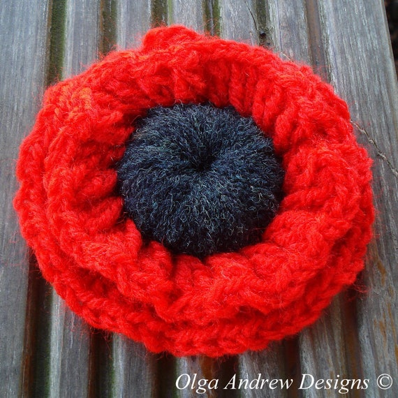 Poppy Flower Brooch Crochet Poppy Brooch Poppy Crochet Brooch Etsy