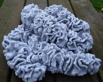 Gray scarf, crochet scarf, scarf women, spring scarf, elegant scarf, ruffle scarf, womens scarf, crochet scarf women, gift for mother