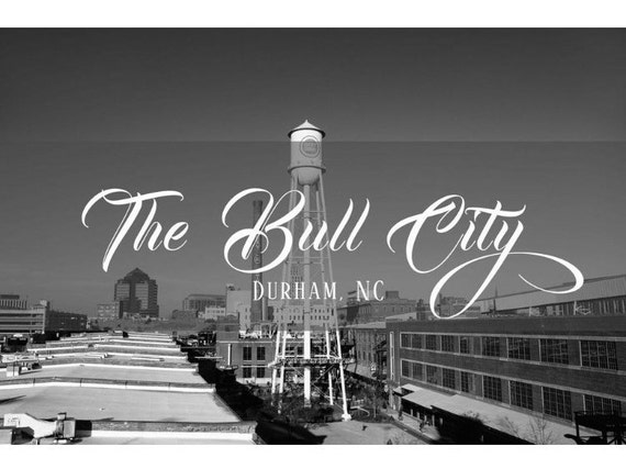 The Bull City Durham Nc Downtown Skyline Black Etsy