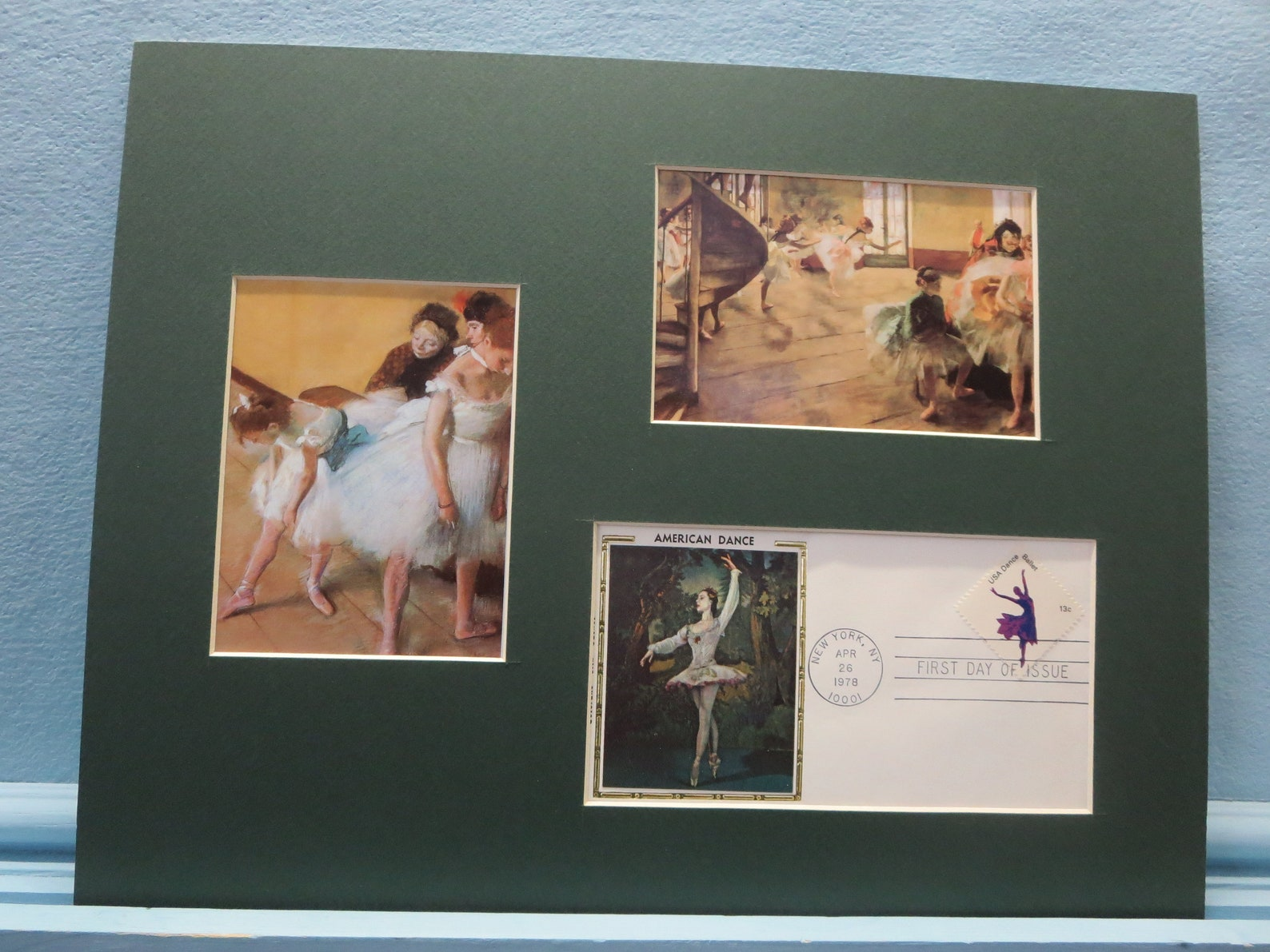 ballet dancers as painted by edgar degas and the first day cover of the ballet stamp