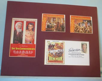 Charlton Heston in The Ten Commandments & First Day Cover of his own stamp
