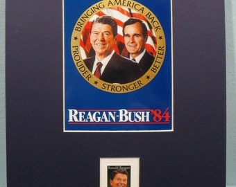 Ronald Reagan and George Bush win  the 1984 Presidential Election honored by the Ronald Reagan stamp