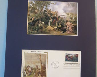 The British Retreat from Lexington and Concord & First day Cover of its own stamp