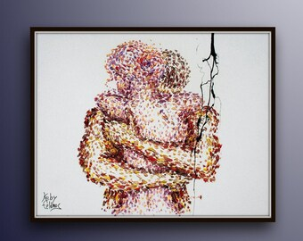 """Oil painting 40"""" romantic painting, gift idea, Original oil painting on canvas, embracing, man and woman, couple in love, by Koby Feldmos"""