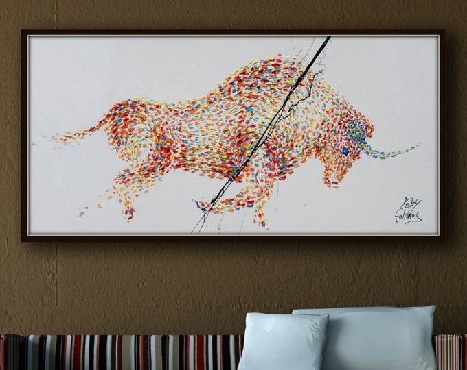 """Painting 67"""" Bull  Painting  on canvas, Original & HandMade Oil painting , Modern Art , Express Shipping, By Koby Feldmos"""