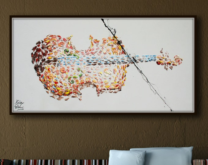 """Violin Painting 55"""", music instrument, Original & Hand Made , Home Decor, original art, Certification Attached , Painted by Koby Feldmos"""