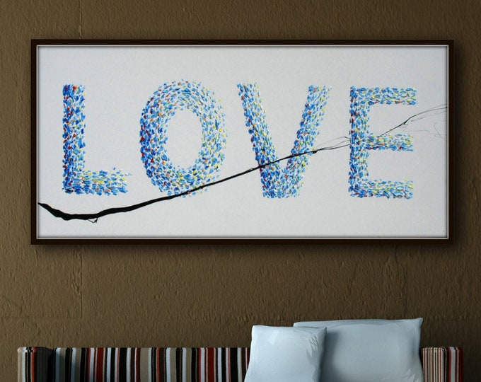 """Painting 55"""" Love painting, romantic gift, valentine wedding gift, Love Word, blue relaxing colors, Amazing above bed, By Koby Feldmos"""
