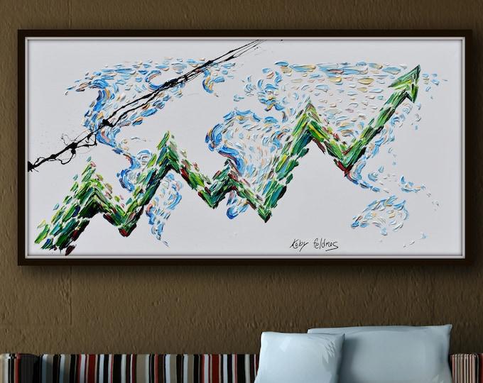 "Graph 67"" Graph for financial advisor, finance, stock chart, stock exchange, bull market, finance business, office art, by Koby Feldmos"