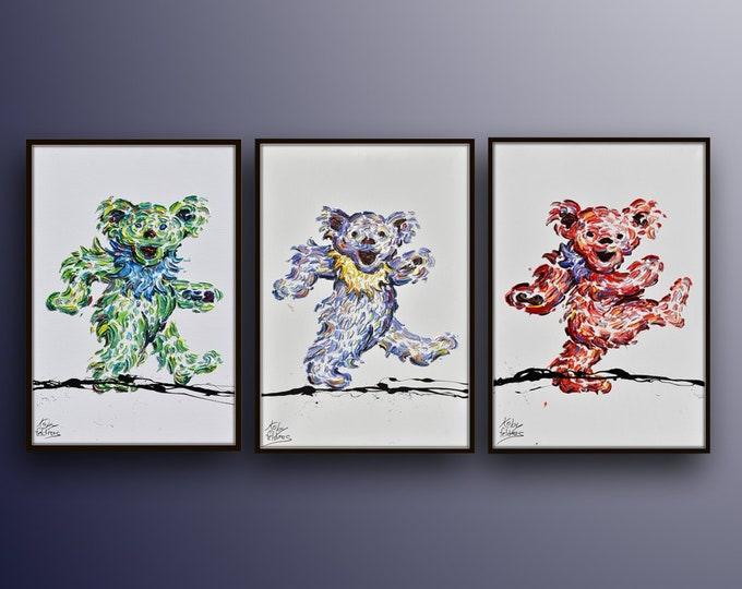 """Dancing dead bear set 30"""" x 20 original oil painting on canvas, beautiful composition,  oil on canvas, by Koby Feldmos"""