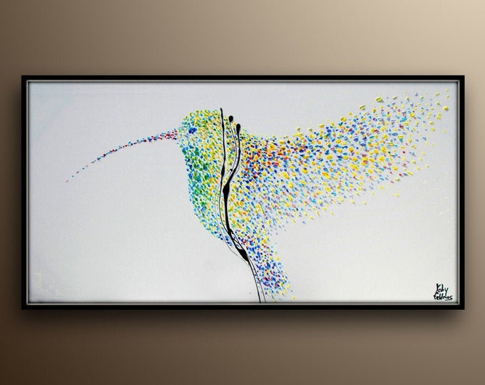 """HummingBird 67"""" Amazing painting of a flying colorful bird, Refreshing colors and unique composition, Modern Artwork by koby feldmos"""