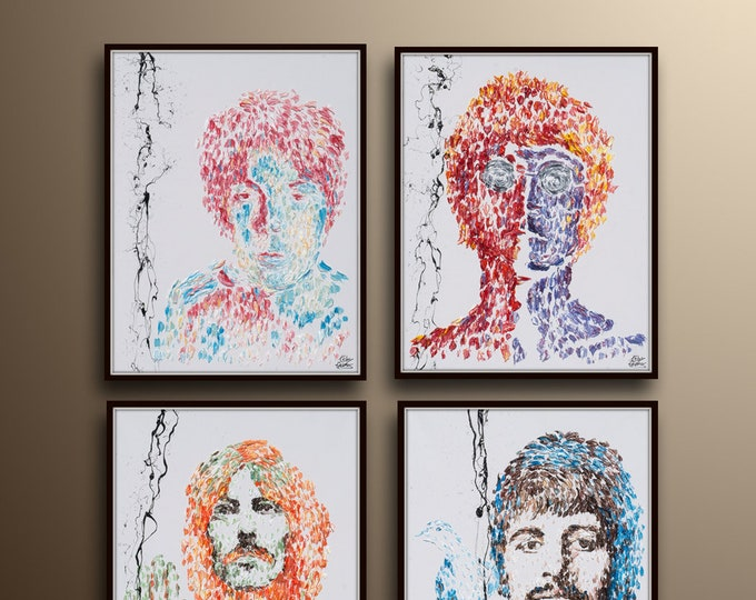 """AMAZING !! Set Painting 30"""" The Beatles Original oil painting on canvas, 4 paintings , by Koby Feldmos"""