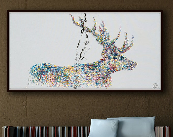 """Painting Animal STAG deer 55"""" Original handmade oil painting on canvas, thick oil layers, Luxury looks, Express shipping, By Koby Feldmos"""