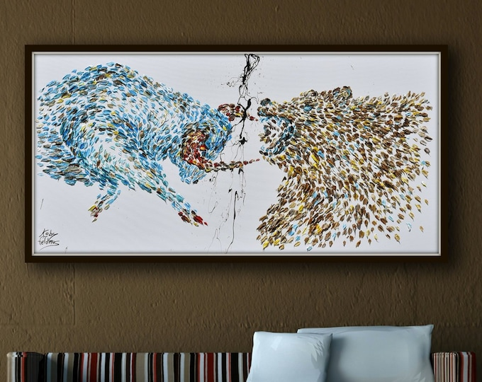 """Painting 67"""" Wall street Stock Exchange Bull vs. Bear, original oil painting on canvas, Animals, By Koby Feldmos"""