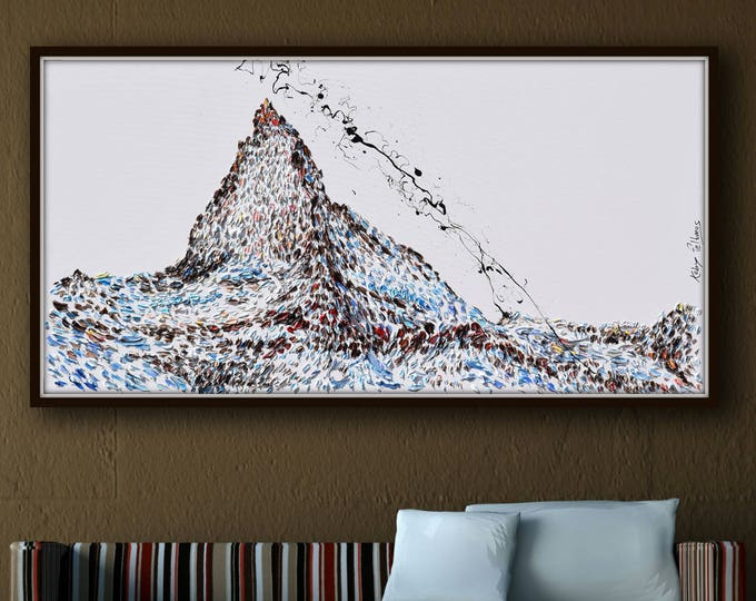 """The Matterhorn 67"""" Spectacular oil painting of famous mountain of the Alps (between Switzerland and Italy) snow mountain landscape painting"""
