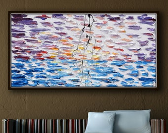 "Abstract painting 55"" Original oil painting, AMAZING !! sunset, colors composition and texture, beautiful relaxing looks by Koby Feldmos"