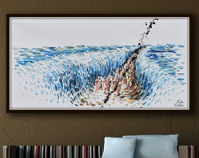 """The crossing the Red Sea 55"""" -  biblical narrative of the Exodus, the escape of the Israelites led by Moses - oil on canvas by Koby Feldmos"""