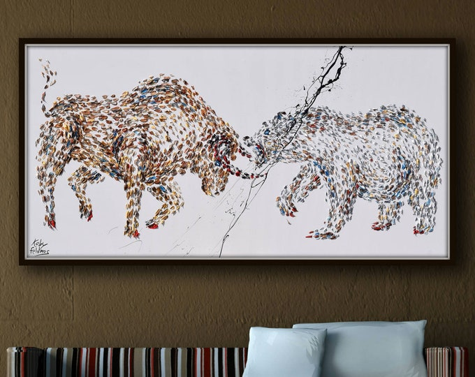"""Painting 67"""" Wall street Stock Exchange Bull vs. Bear , original oil painting on canvas, Animals, for office painting, By Koby Feldmos"""