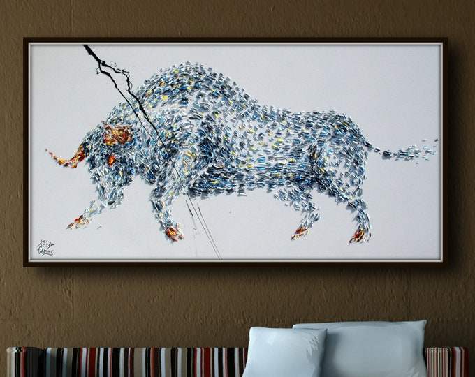 """Animal Bull Painting 67"""" Abstract Painting on canvas, Original & HandMade Oil painting , Modern Art , Express Shipping, q By Koby Feldmos"""