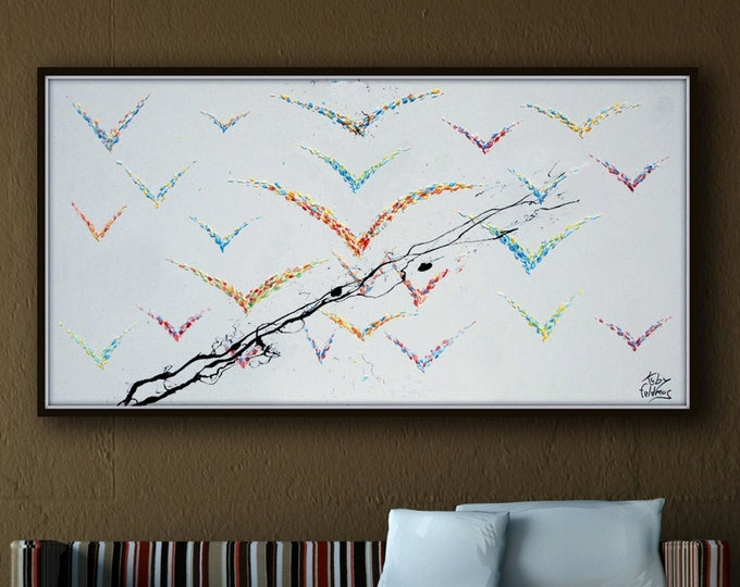 """Bird Painting 55""""  Animal Oil Painting Abstract Animals Art, Pastel Colors original painting & Hand made by Koby Feldmos"""