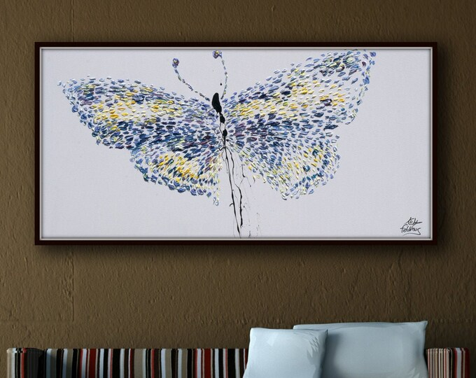 """Butterfly Painting 55""""  Original Handmade Oil Painting on canvas Vivid purple and yellow butterfly Thick Luxurious Paint,  By Koby Feldmos"""