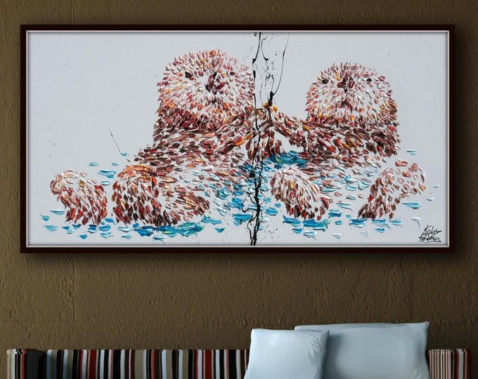 """Animal Painting 55"""" Sea Otter Original Oil Painting on canvas, Thick Layers, Beautiful Luxury Texture, Calming Animal, by Koby Feldmos"""
