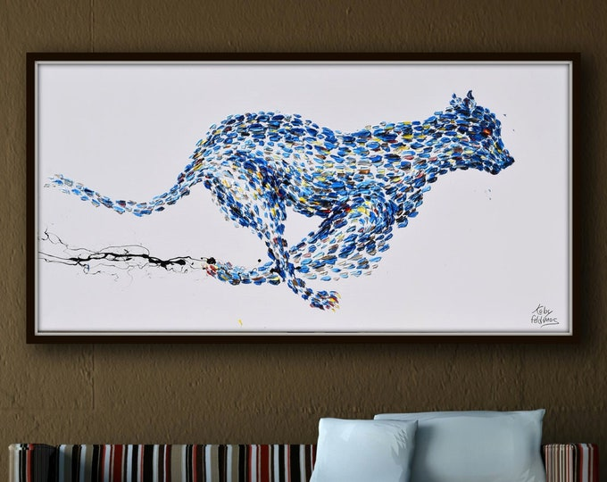 """Cheetah Painting 55""""  Black panther Beautiful  painting, thick layers , Prestige luxurious, art collectors, Koby Feldmos"""