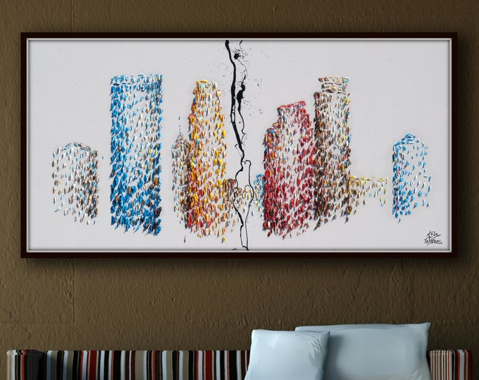 """Minneapolis 55"""" skyline Buildings Painting Skyline cityscape original oil painting on canvas, thick layers, Large canvas, By Koby Feldmos"""