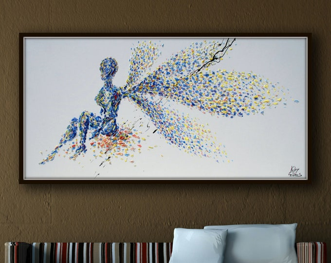 """Wishing Fairy 55"""" - Original oil painting of a beautiful relaxing fairy, unique artwork composition, handmade by Koby Feldmos"""