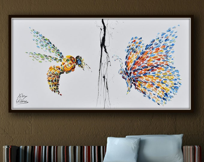 """Spring Butterfly Vs. Honey Bee 55"""" Original Handmade Oil Painting on canvas , beautiful composition, By Koby Feldmos"""