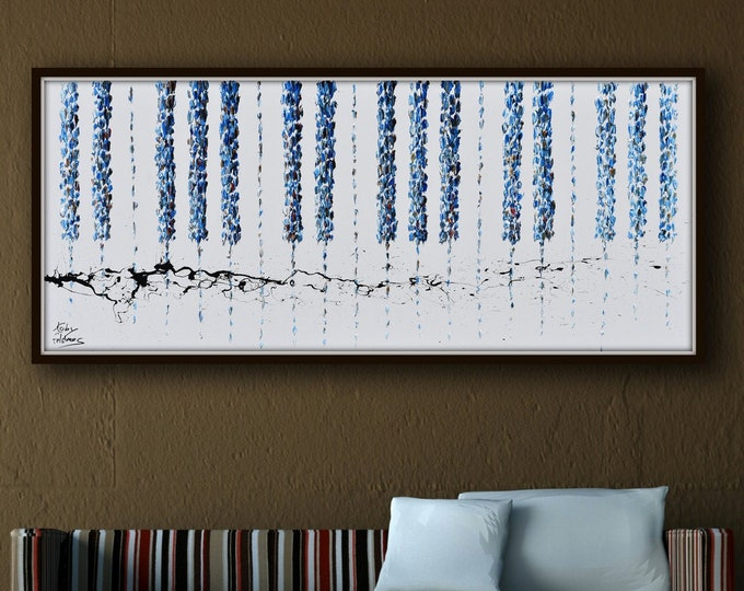 Abstract Piano Keyboard 67x30  Original Oil Painting ,thick layers, Luxury Looks, Express Shipping, By Koby Feldmos