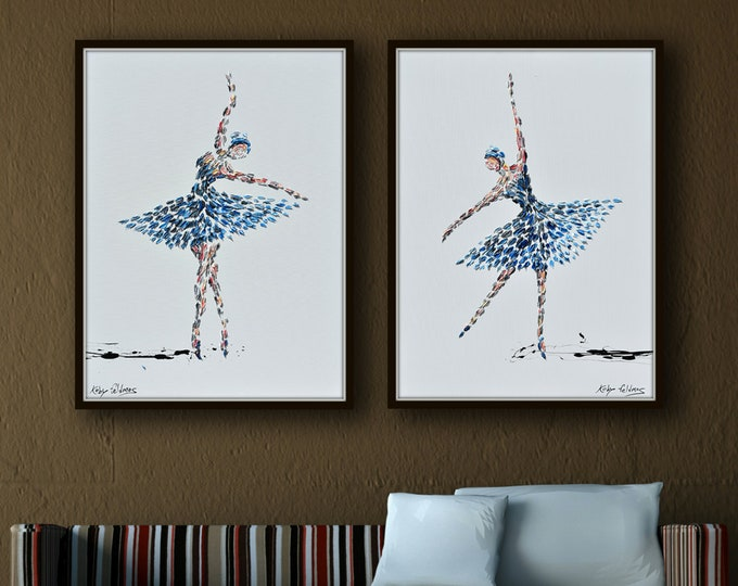 """Ballerina Set , two paintings 30""""x20"""",  Original and Handmade, Cold and Warm tones, Beautiful composition of two dancers Must have - Feldmos"""