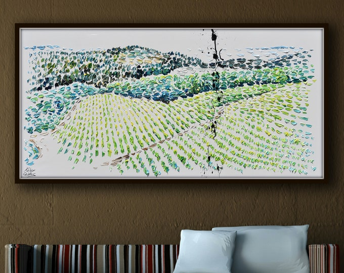 Landscape painting 67 Vineyard  brown rolling hills are during summer months, with the lush green vines and dark full grapes by Feldmos