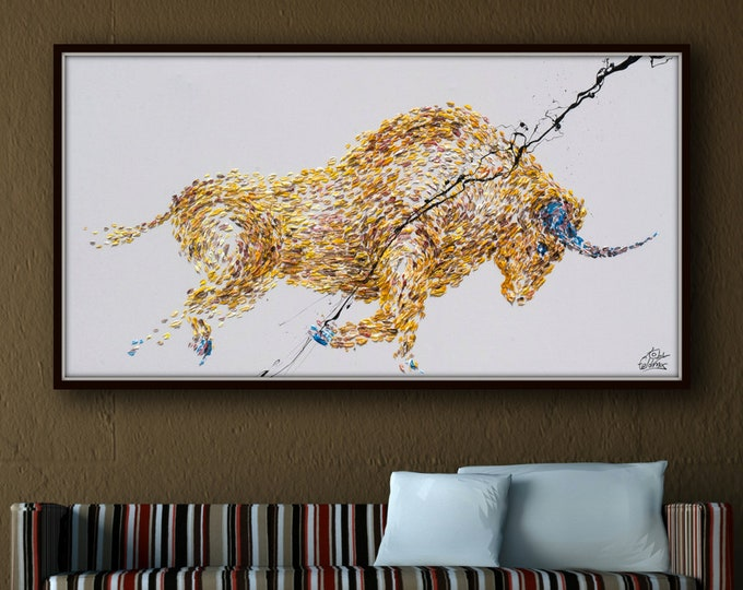 """Animal Bull Painting 67"""" Yellow Abstract Painting on canvas, Original & HandMade Oil painting ,  Express Shipping, q By Koby Feldmos"""
