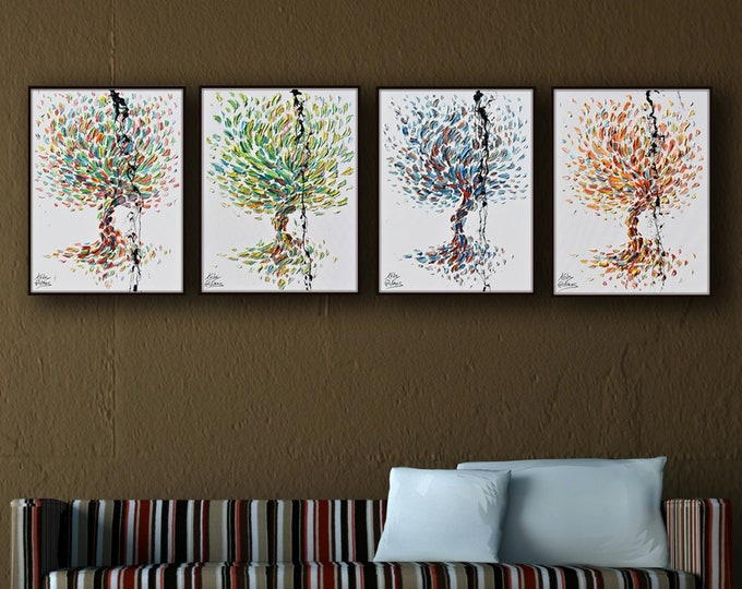 """4 season trees set - 30"""" x 20"""" painting - Spring Summer autumn and winter : Beautiful unique set painting original hand made by Koby Feldmos"""