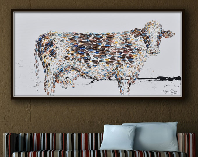 """Cow 55"""" painting, beautiful colors, Animal painting, milk, brown, very impressive piece, oil painting on canvas, hand made by Koby Feldmos"""